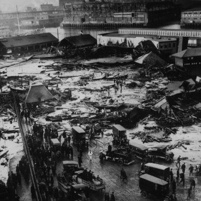 Panorama of Molasses Flood Disaster, Boston Globe, Boston Public Library